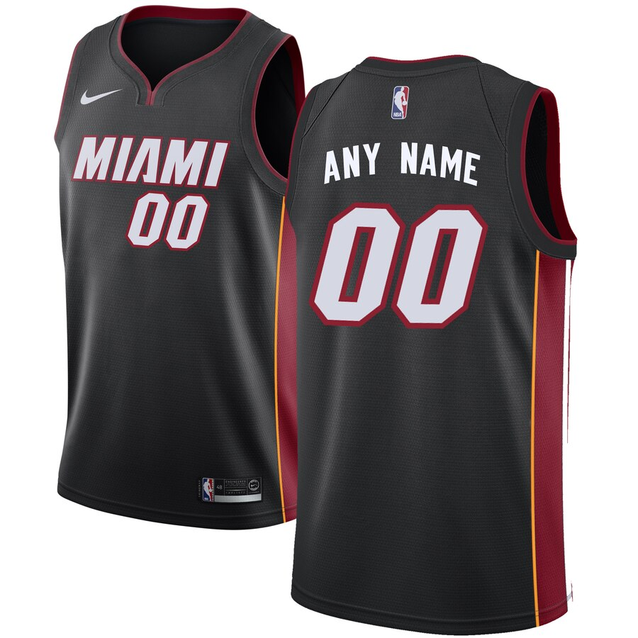 Miami Heat Custom Letter and Number Kits for Nike Black Jersey